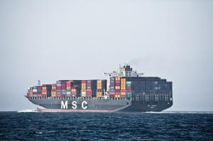Massive Container Freighter Ship MSC in the Santa Barbara Channe